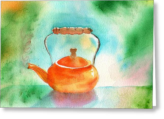 Copper Tea Kettle Greeting Card by Sharon Mick