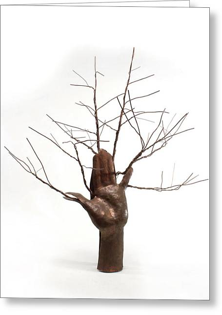 Texture Sculptures Greeting Cards - Copper Tree Hand a sculpture by Adam Long Greeting Card by Adam Long
