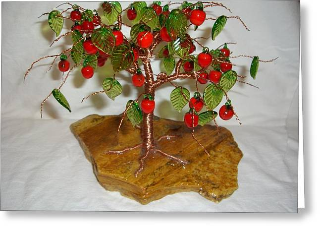 Lampwork Greeting Cards - Copper Wire Tree with Red Apple and Green Leaves Lampwork Greeting Card by Serendipity Pastiche