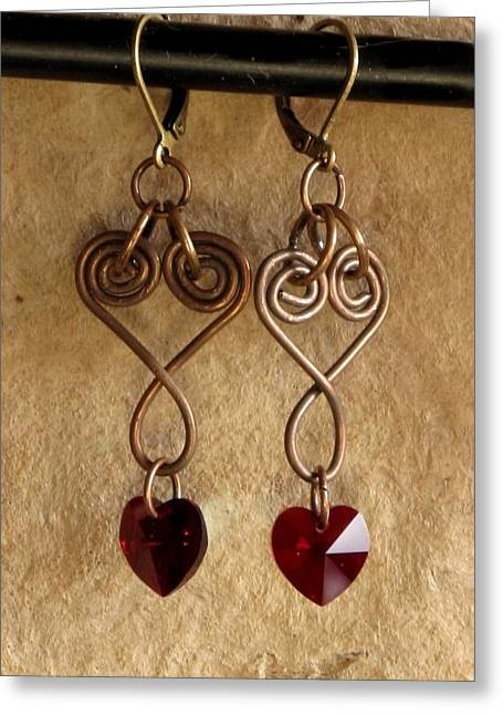 Gold Earrings Jewelry Greeting Cards - CopperHearts Greeting Card by Jan Brieger-Scranton