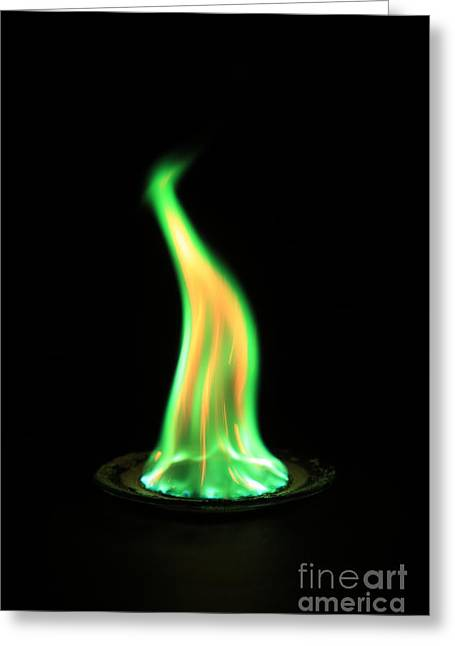 Flame Test Greeting Cards - Copperii Chloride Flame Test Greeting Card by Ted Kinsman