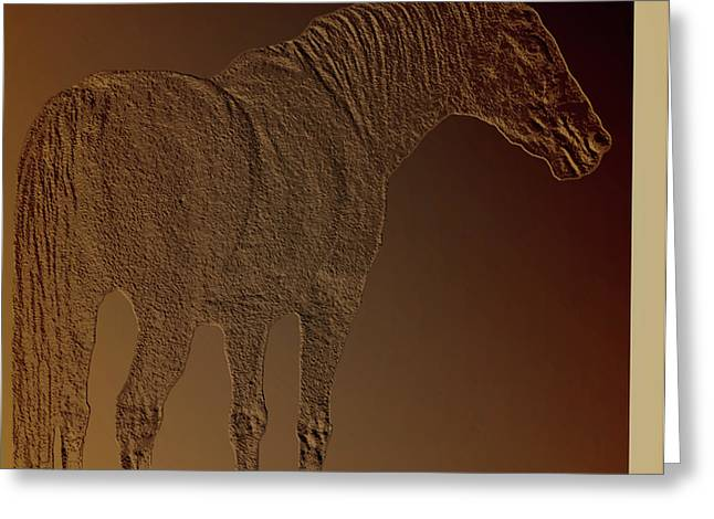 Pastureland Mixed Media Greeting Cards - Coppertone Horse Greeting Card by Debra     Vatalaro