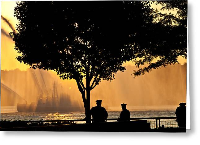 Fireboat Greeting Cards - Cops watch a Fireboat on the Hudson River Greeting Card by Chris Lord