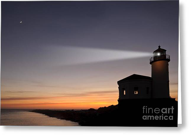 Coquille River Lighthouse Greeting Card by John Shaw and Photo Researchers