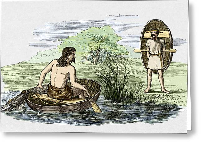 Coracle Boats Of The Ancient Britons Greeting Card by Sheila Terry