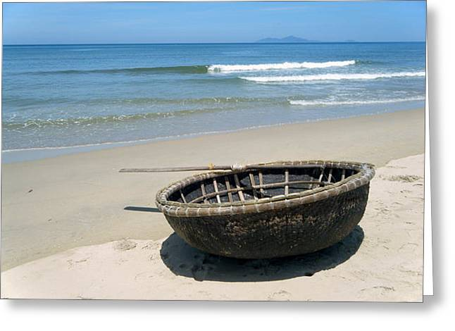 China Beach Greeting Cards - Coracle on Danang Beach Greeting Card by Steven Scott