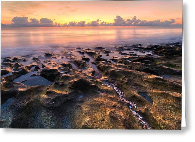 Tidal Photographs Greeting Cards - Coral Beach Greeting Card by Debra and Dave Vanderlaan