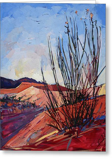 Sand Dunes Paintings Greeting Cards - Coral Pink Grass Greeting Card by Erin Hanson