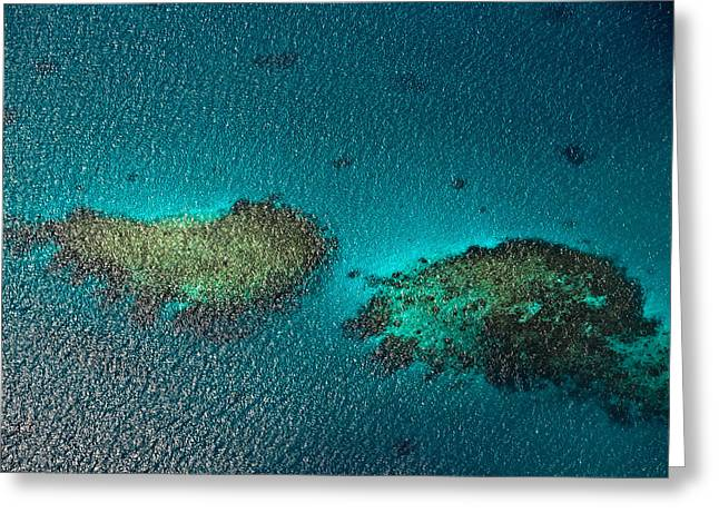 Tropical Oceans Greeting Cards - Coral Reefs. Aerial View. Maldives Greeting Card by Jenny Rainbow