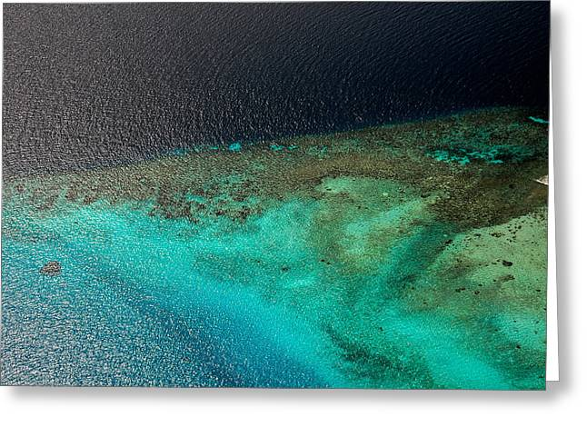 Tropical Oceans Greeting Cards - Coral Reefs I. Aerial View. Maldives Greeting Card by Jenny Rainbow