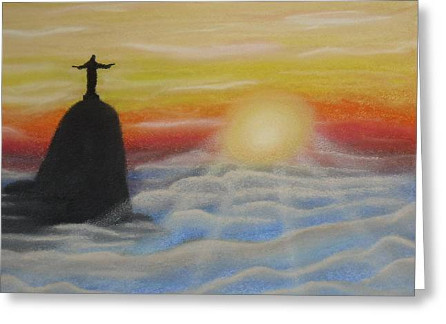 Jesus Pastels Greeting Cards - Corcovado Greeting Card by Silvia Louro