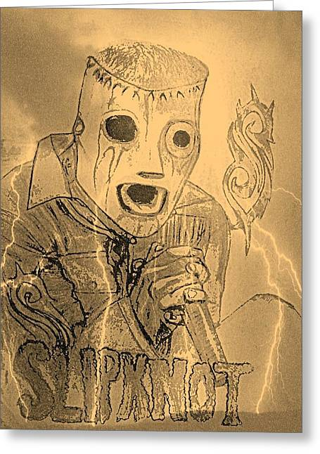 Slipknot Greeting Cards - Corey Taylor Greeting Card by Linda Farrelly