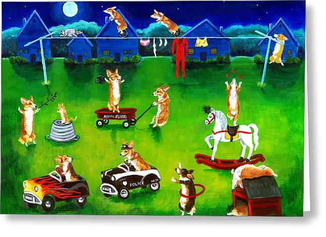 Puppies Greeting Cards - Corgi Backyard Circus Greeting Card by Lyn Cook