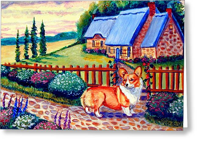 Country Cottage Greeting Cards - Corgi Cottage Home Fires Greeting Card by Lyn Cook