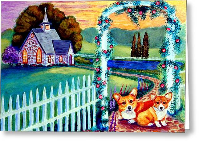 Country Cottage Greeting Cards - Corgi Cottage Sunday Greeting Card by Lyn Cook