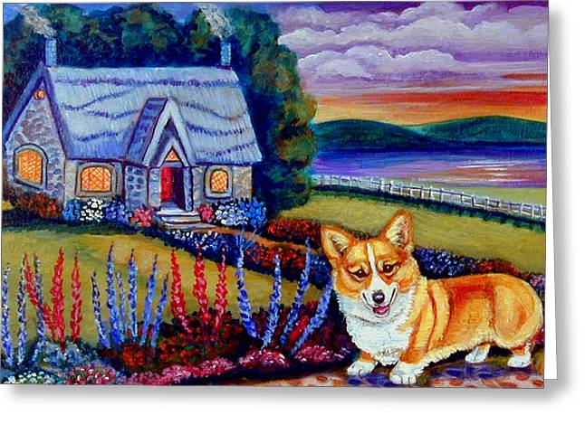 Puppies Paintings Greeting Cards - Corgi Cottage Sunset Greeting Card by Lyn Cook
