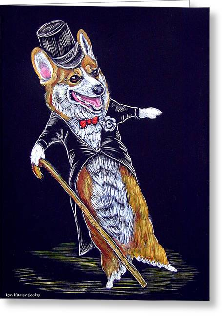 Astaire Greeting Cards - Corgi Fred Astaire Greeting Card by Lyn Cook