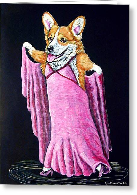 Astaire Greeting Cards - Corgi Ginger Rogers Greeting Card by Lyn Cook