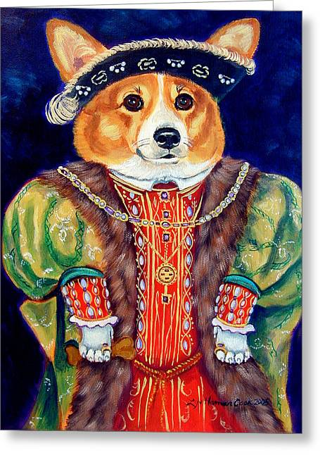 Puppies Greeting Cards - Corgi King Greeting Card by Lyn Cook