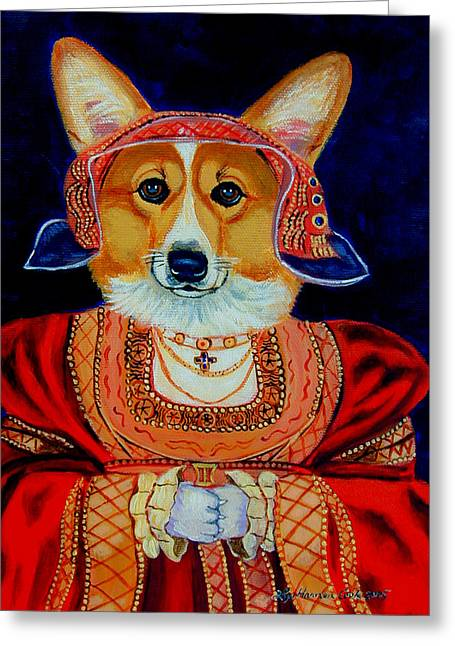 Recently Sold -  - Puppies Paintings Greeting Cards - Corgi Queen Greeting Card by Lyn Cook
