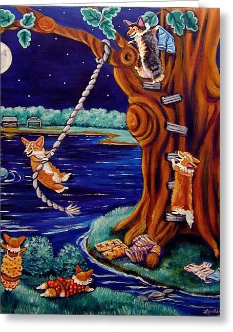 Inner Paintings Greeting Cards - Corgi Skinny Dipping - Pembroke Welsh Corgi Greeting Card by Lyn Cook