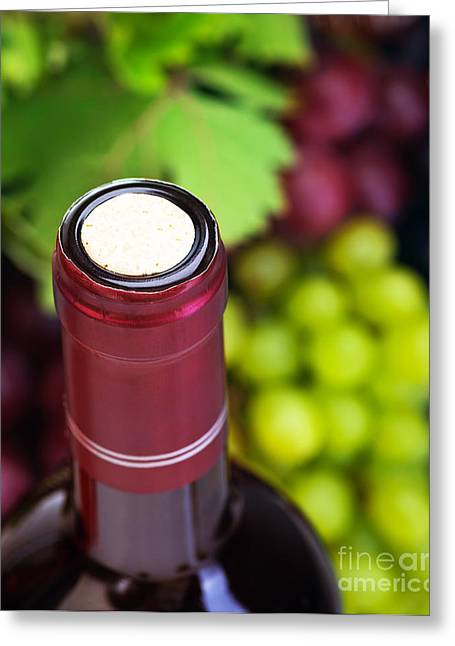 Bottle Of Colors Greeting Cards - Cork of wine bottle  Greeting Card by Anna Omelchenko