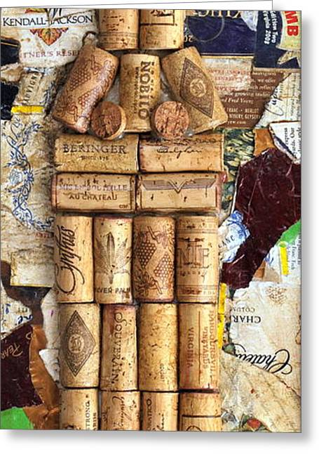 Label Greeting Cards - Corks and Labels Greeting Card by Janice Gelona