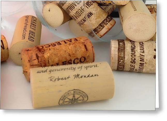 Cellar Greeting Cards - Corks Greeting Card by Cheryl Young