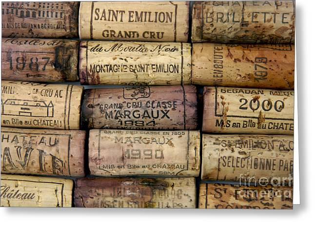 Close-up Pyrography Greeting Cards - Corks of French wine Greeting Card by Bernard Jaubert