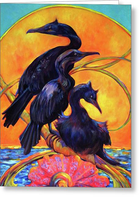 Water Fowl Paintings Greeting Cards - Cormorants In Sunset Greeting Card by Peggy Wilson