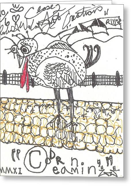 Raw Drawings Greeting Cards - Corn Dreamin Greeting Card by Robert Wolverton Jr