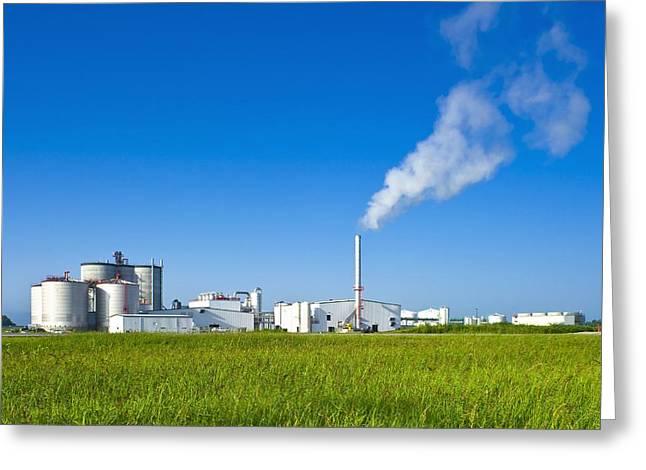 Bioenergy Greeting Cards - Corn Ethanol Processing Plant Greeting Card by David Nunuk