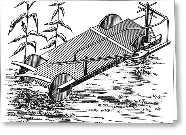Mechanization Greeting Cards - Corn Harvester, 1844 Greeting Card by Granger