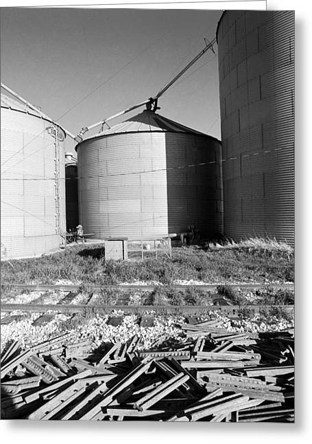 Rail Siding Greeting Cards - Corn Silo System Greeting Card by Jan Faul