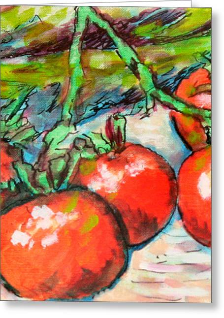 Fresh Produce Mixed Media Greeting Cards - Corn Stalks and Tomatoes Greeting Card by Laura Heggestad