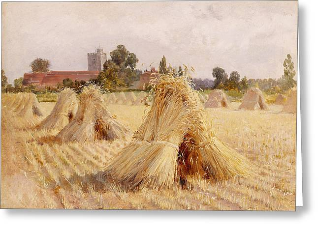 Bales Paintings Greeting Cards - Corn Stooks by Bray Church Greeting Card by Heywood Hardy