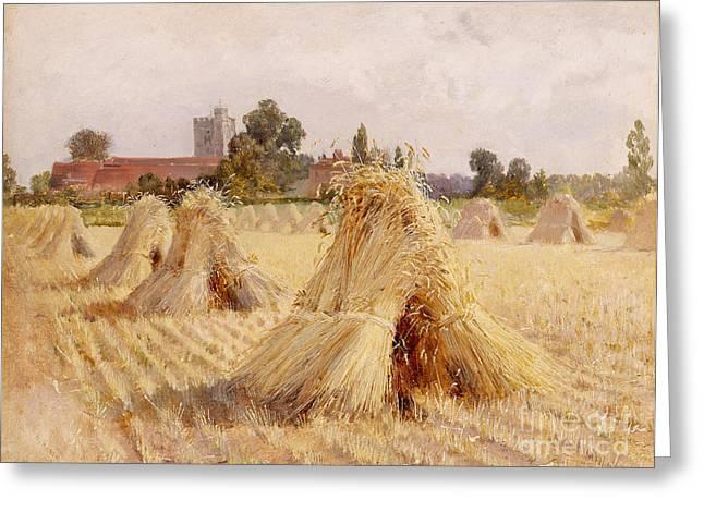 Corn Stooks by Bray Church Greeting Card by Heywood Hardy