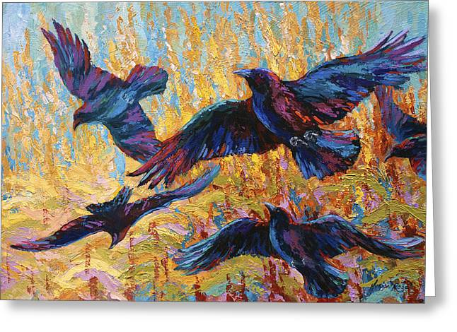 Crow Greeting Cards - Corn Tag Greeting Card by Marion Rose