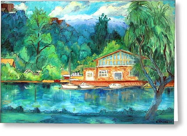Ithaca Greeting Cards - Cornell Boathouse Greeting Card by Ethel Vrana