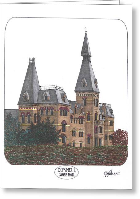 College Campus Drawings Greeting Cards - Cornell Greeting Card by Frederic Kohli
