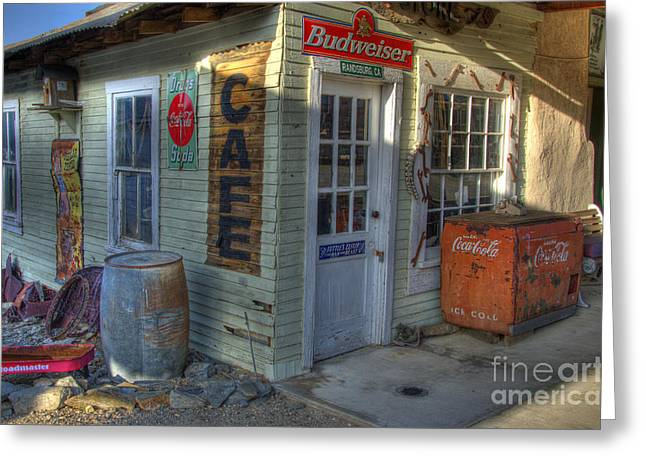Corner Cafe Greeting Cards - Corner Cafe Randsburg California Greeting Card by Bob Christopher