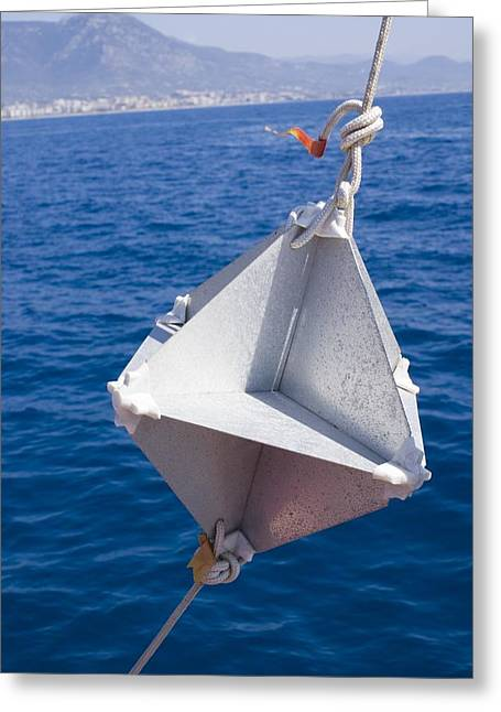 Fog At Sea Greeting Cards - Corner-cube Radar Reflector On A Boat. Greeting Card by Mark Williamson