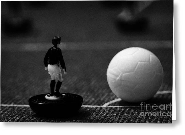 corner kick football soccer scene reinacted with subbuteo table top football players game Greeting Card by Joe Fox