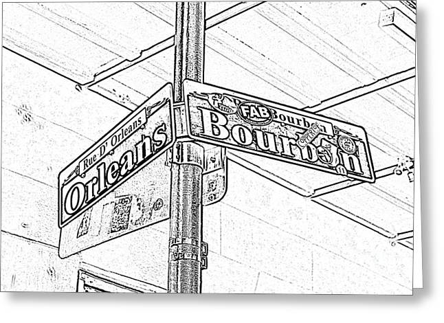 Big Easy Greeting Cards - Corner of Bourbon and Orleans Sign French Quarter New Orleans Black and White Photocopy Digital Art  Greeting Card by Shawn O