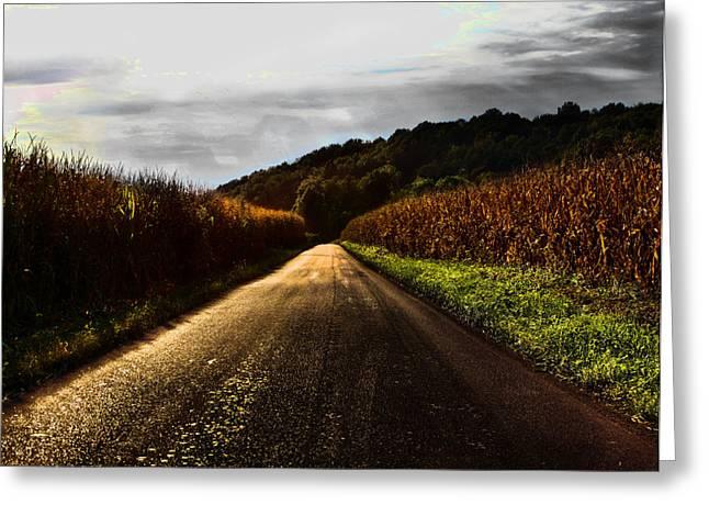 Corn Pyrography Greeting Cards - Cornfield Road Greeting Card by Matt Marsh