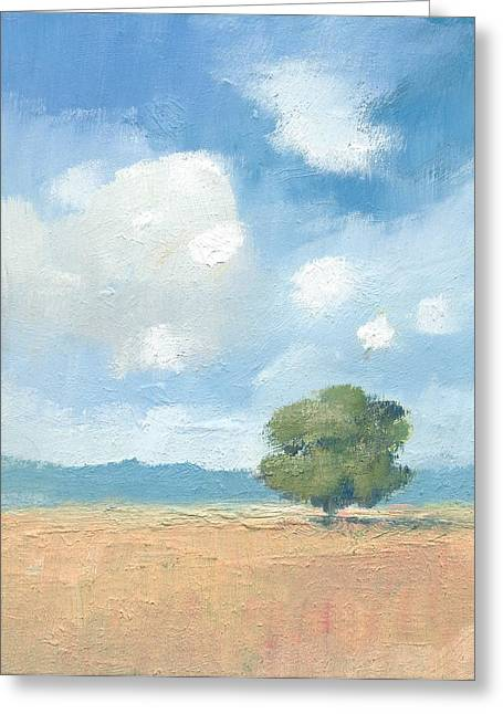 Clouds Greeting Cards - Cornfields with Oak tree Greeting Card by Alan Daysh