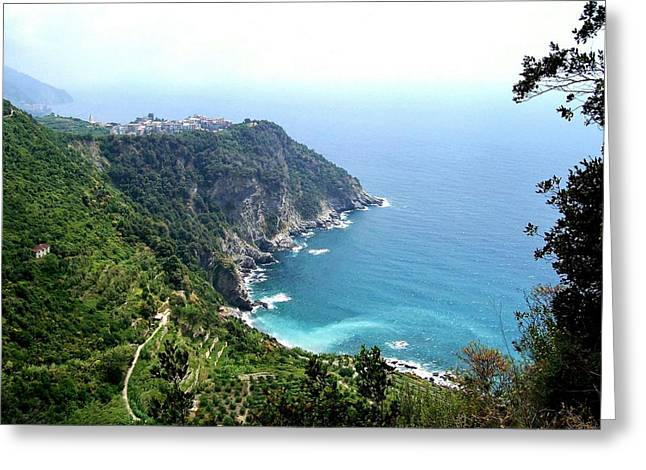 Mediterranian Greeting Cards - Corniglia Cinque Terre and Vineyards Greeting Card by Marilyn Dunlap