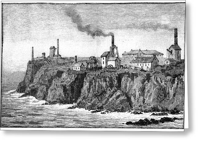 Burning Buildings Greeting Cards - Cornish Tin Mines, 19th Century Greeting Card by