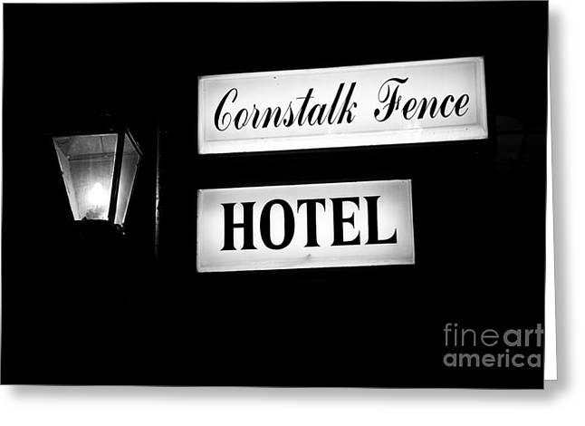 Cornstalk Fence Hotel Greeting Card by Leslie Leda