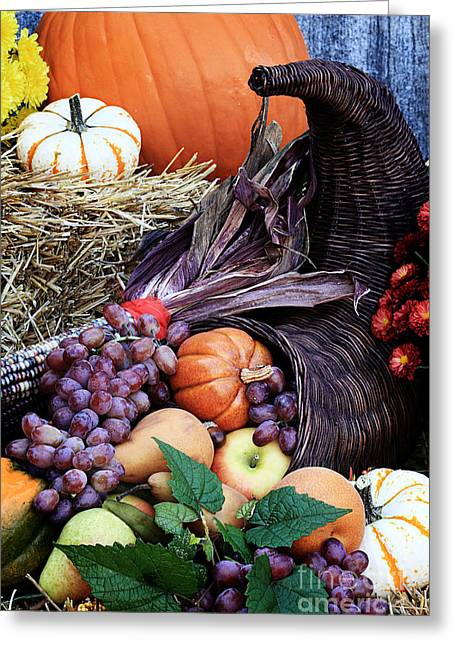 Purple Grapes Greeting Cards - Cornucopia or Horn of Plenty Greeting Card by Stephanie Frey
